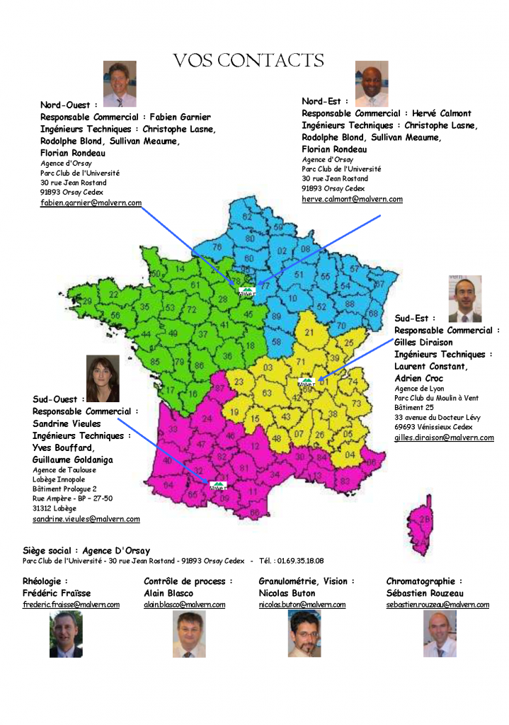 Carte de France Malvern + Viscotek + SAVmen 4 régions 2013 avec photos
