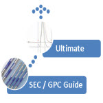 The Ultimate Chromatography guide, image showing columns and a chromatogram, with the words 'Ultimate' and 'SEC / GPC Guide'