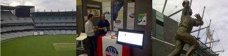From L to R: Inside the MCG; At the ATA Scientific stall, Lorne; Outside the MCG