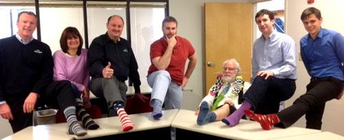 Malvern US team don Silly Socks