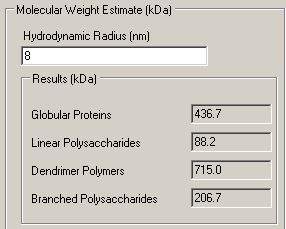 Screenshot of molecular weight estimate calculator in the Zetasizer software