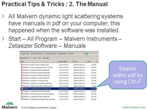 screenshot from the presentation: where to find the manual for the Zetasizer