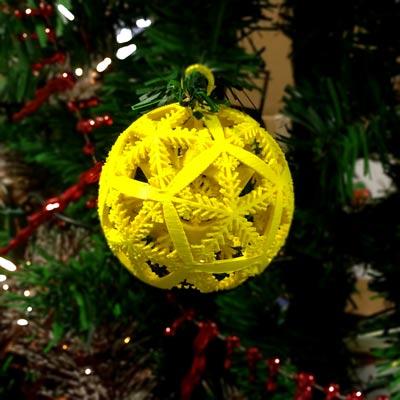 3D printed snowflake bauble