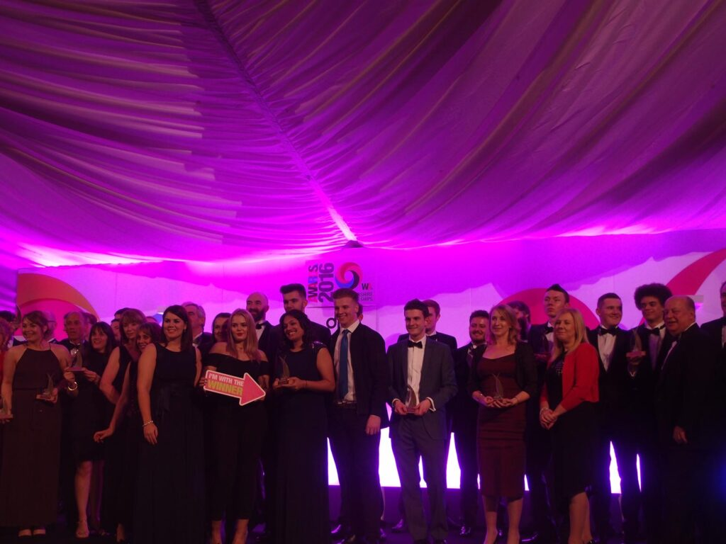 Justin on stage with the other winning apprentices and companies!