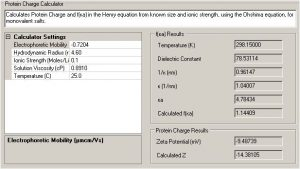 ProteinChargeCalculator-Utilities-Zetasizer-software Zetasizer software calculator to predict the number of charges per molecule based on the measured electrophoretic mobility and the hydrodynamic size of the particle