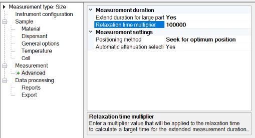 run duration relaxation time multiplier to extend the automatic run time for very large particles, shown in the Zetasizer Nano software