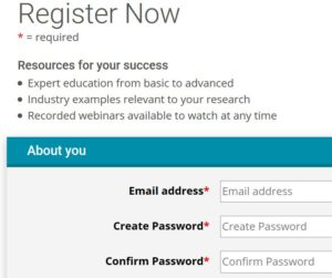 Register Now screen for registration of a new user for malvern website