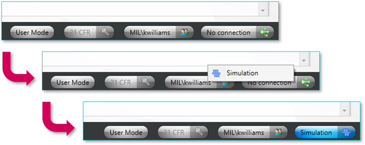 Steps to activate simulation mode