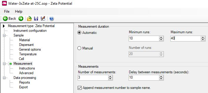 SOP settings for zeta potential in water treatment, from the classic Nano software, snippet by Ulf Nobbmann