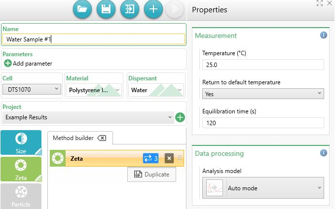 ZSKD Method settings for zeta potential in water treatment for the Zetasizer Advance series ZS Xplorer software, snippet by Ulf Nobbmann