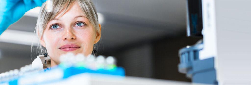 Female scientist working in a lab