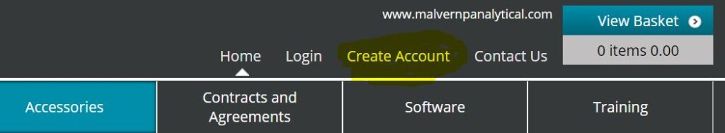 screen snip of malvernstore - highlight on create account which is a prerequisite for generating a consumables quote in pdf on our estore webstore