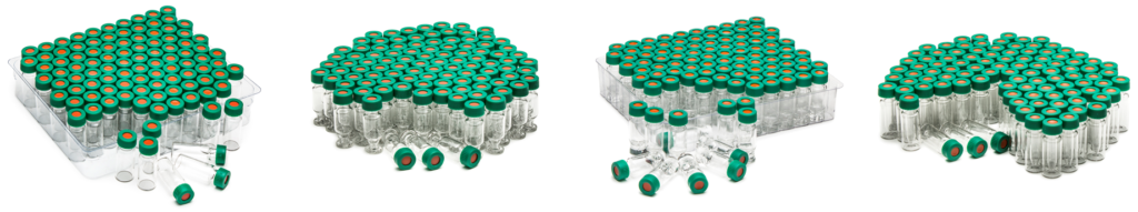 four different types of autosampler vials for OMNISEC